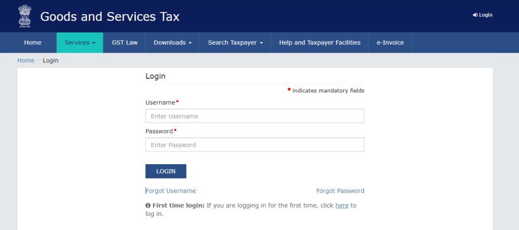 Good and Services Tax Login